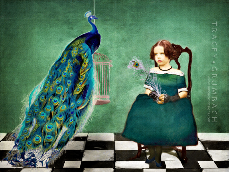 girl and peacock sitting for portrait