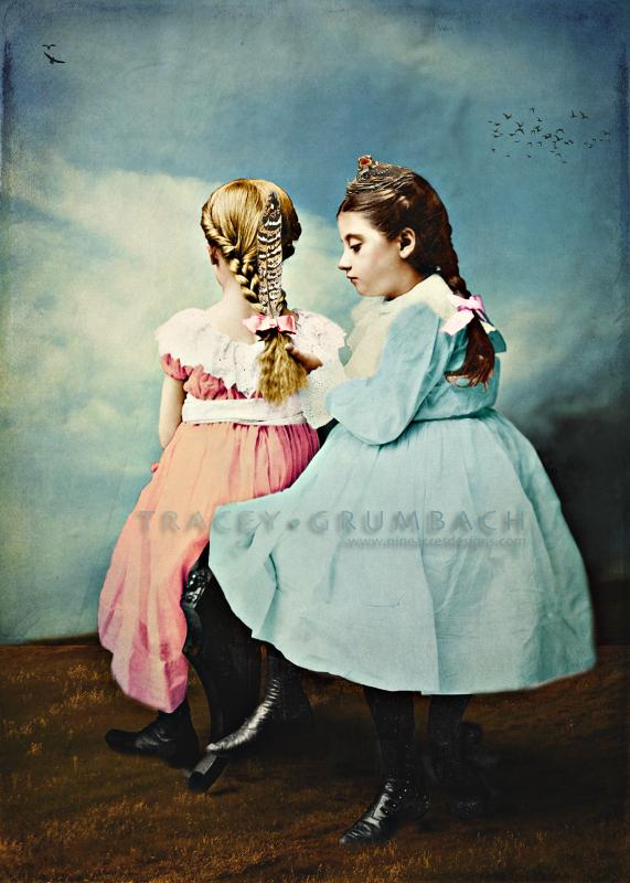 digital art showing two girls braiding hair