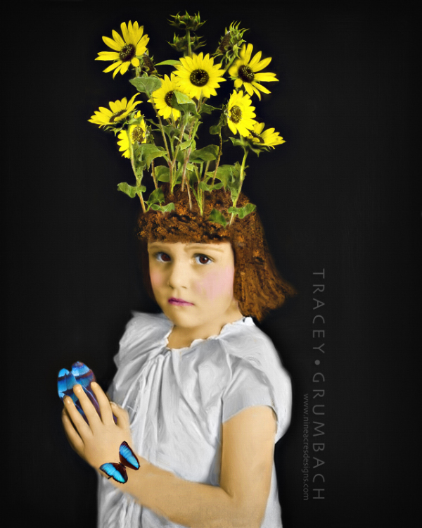 abstract, conceptual, nature, girl, flowers,