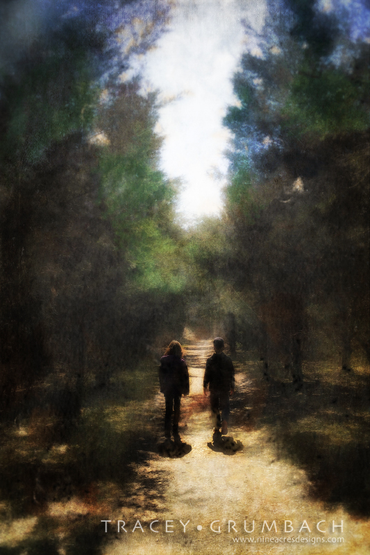 two children walking along a rural path in woods