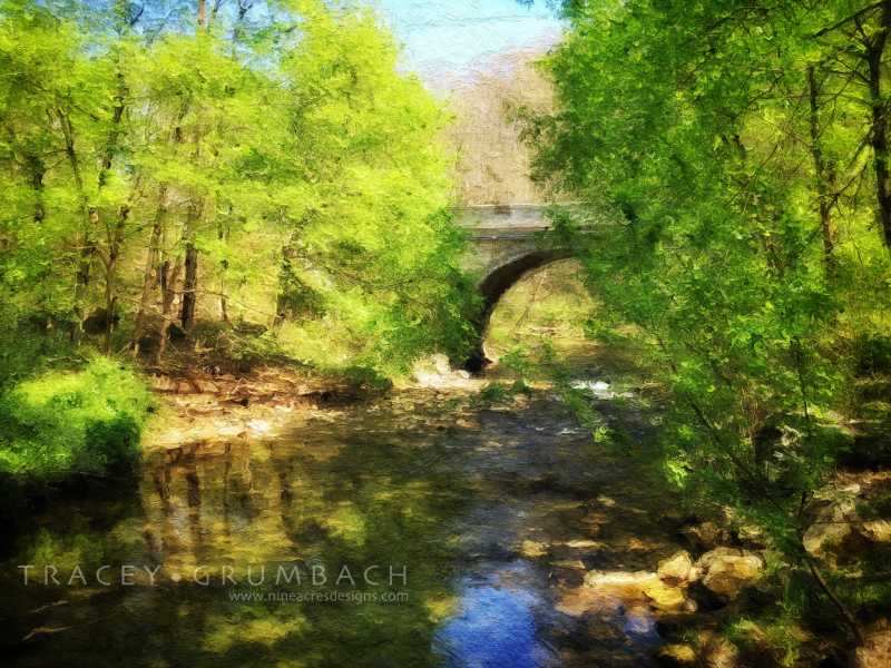 digital painting of water under a bridge in spring