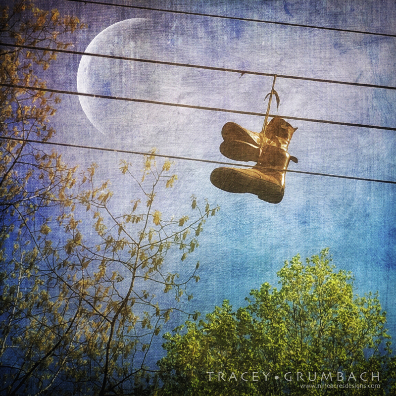 shoes hanging on a wire