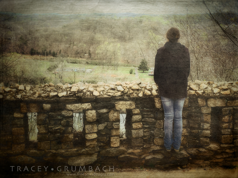 girl at stone wall looking over Virginia landscape