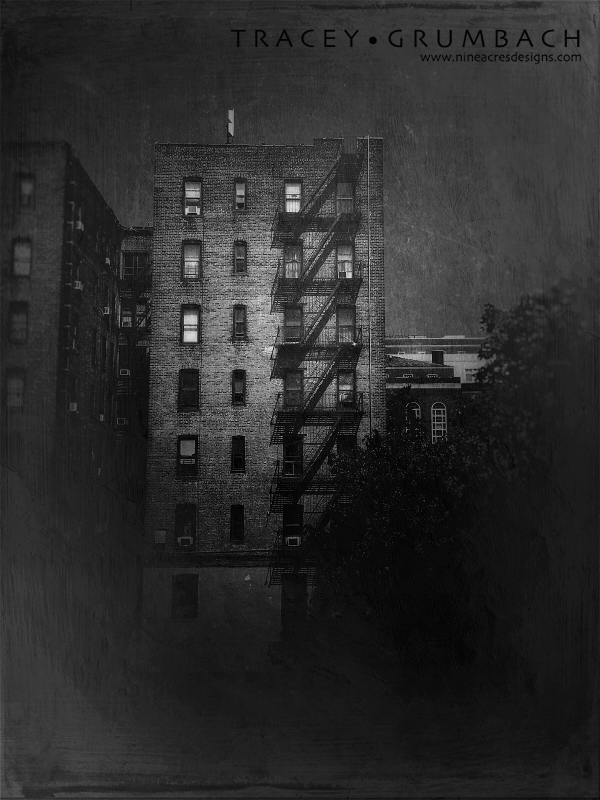 monochrome image of New York City tenement