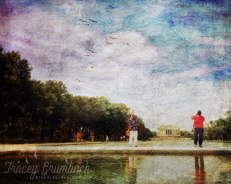 Tourists in Washington D.C. with Lincoln Memorial