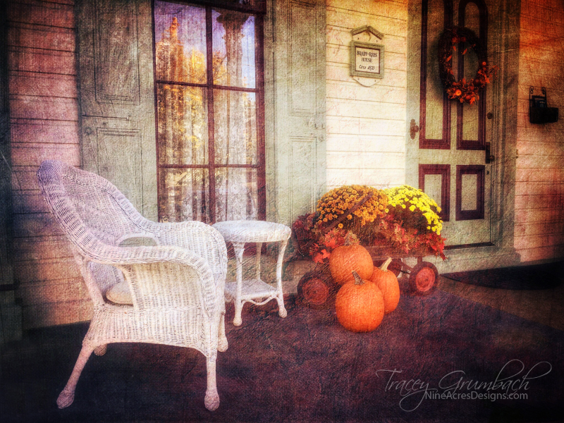 historical house porch decorated for autumn in MD