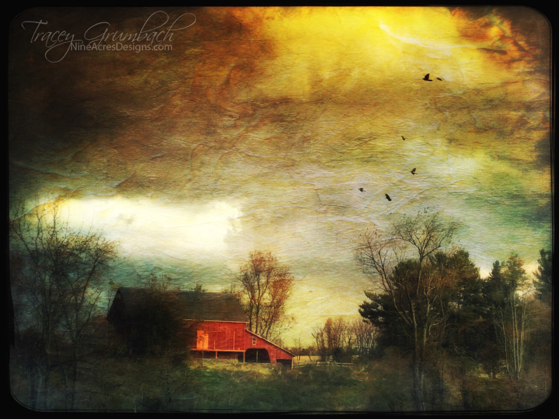 storm clouds over a barn