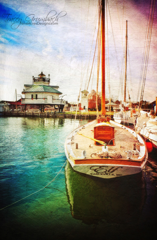 boat and lighthouse in St. Michael's Maryland