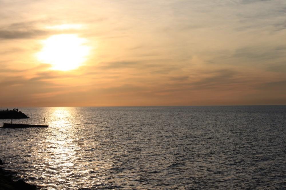 Beautiful sunset over Caspian Sea, Mazandaran, Ira