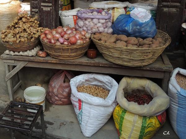etal d'échope à Katmandou