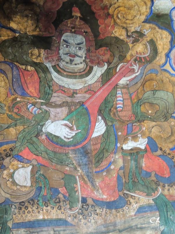 Vieille fresque murale dans le temple Jambay