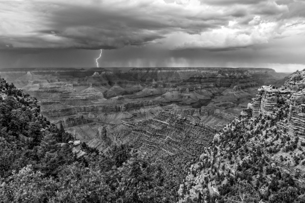Lightning Strikes Near the Grand Canyon (BW)