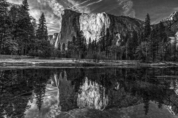 Reflecting on El Capitan in monochrome