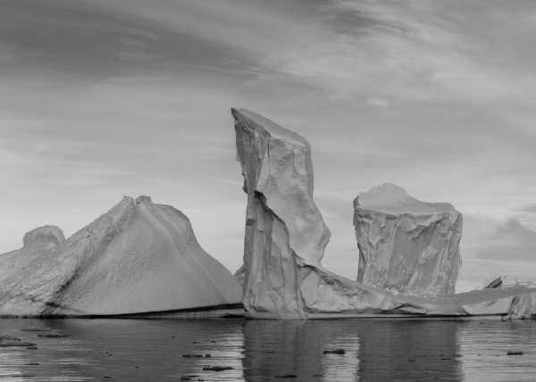 icebergs in monochrome