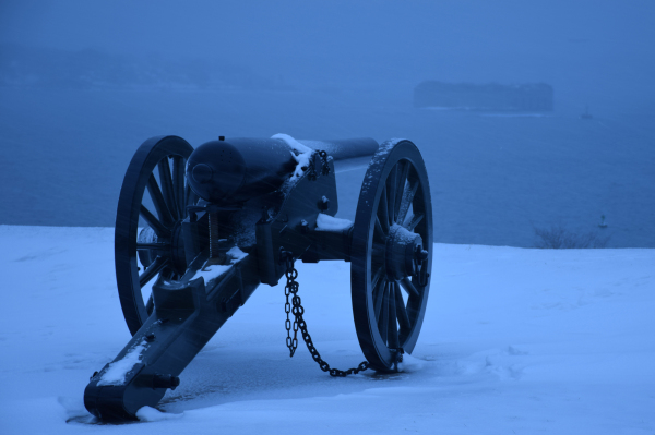 War of 1812 gun aims at Fort Gorges in Portland ME
