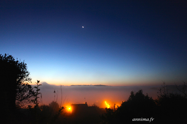 Lune et brouillard, moon, mist