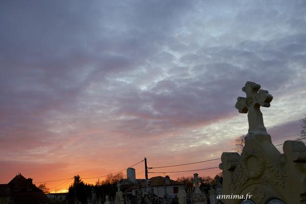 sunset, cross, cimetery