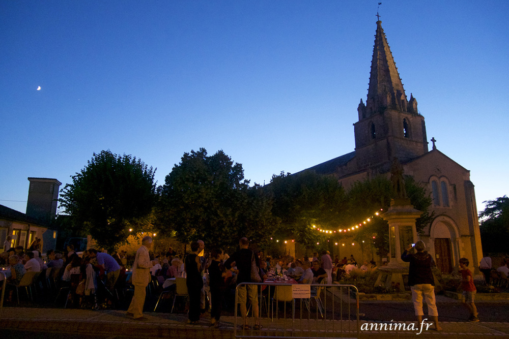 BAstille Day, France, roman church, summer, blue