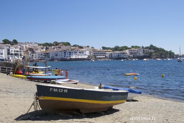postcard, Cadaques, beach, boat