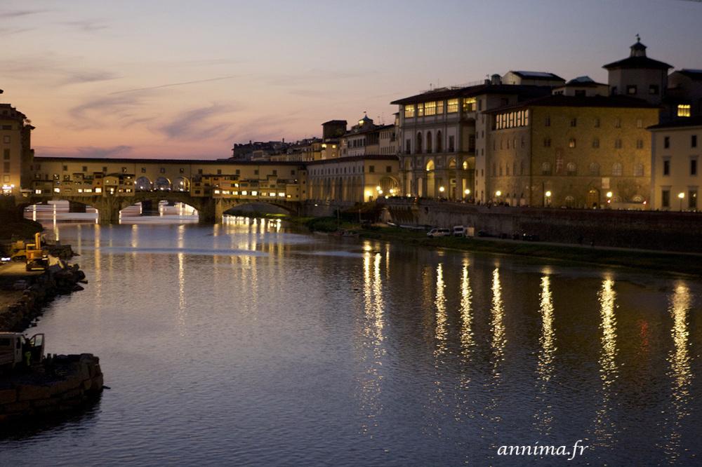 Ponto Vecchio, night, river, Arno