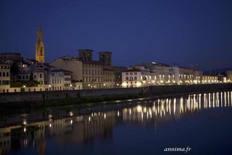 Florence, Arno, blue hour, light
