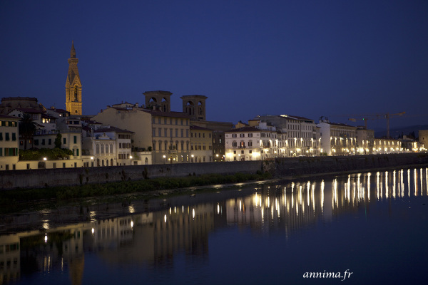 Florence, Arno, blue hour, light