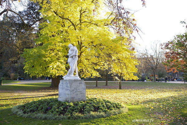 statue, fall, leaves, parc