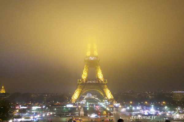 Eiffel Tower, Fog, brouillard, Night shot