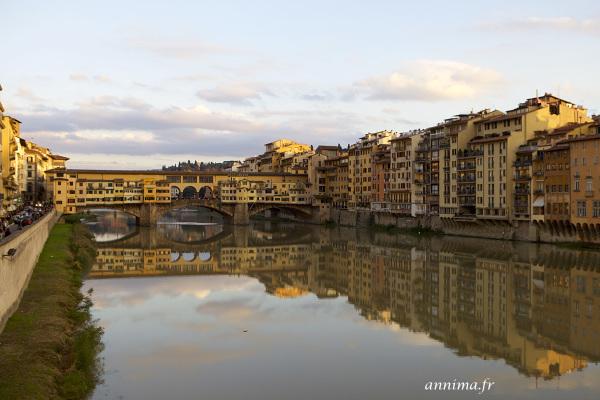 Florence, brigde, golden hour, Arno, river, Ponto