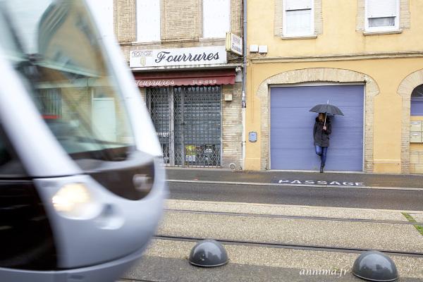 tramway, street, door, blue