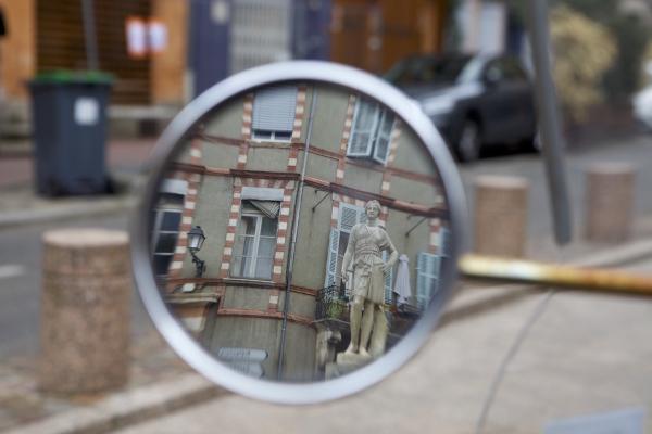 mirror, statue, street