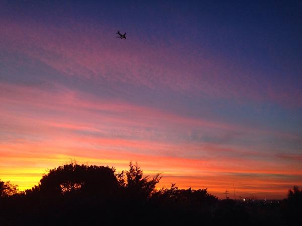 sunset, plane