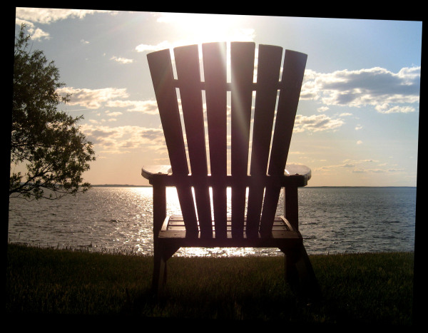 empty chair in sunset