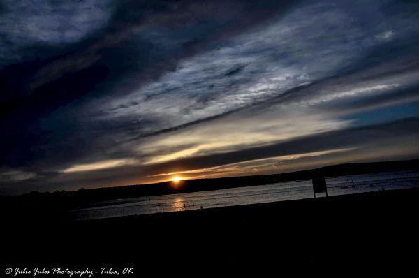Sunset on a lake beach...