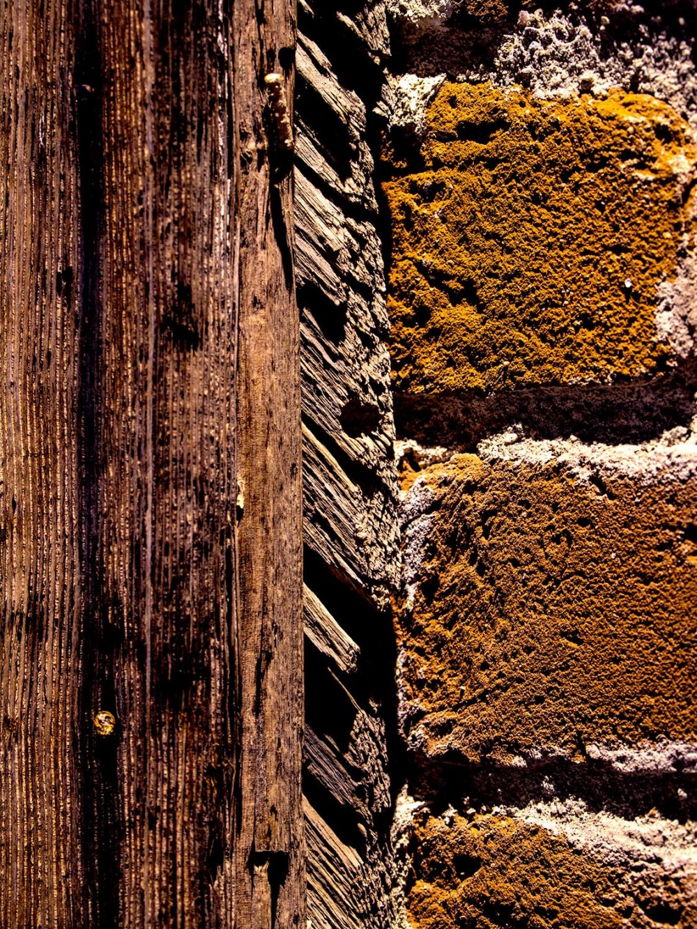 Old Wood and Red Brick
