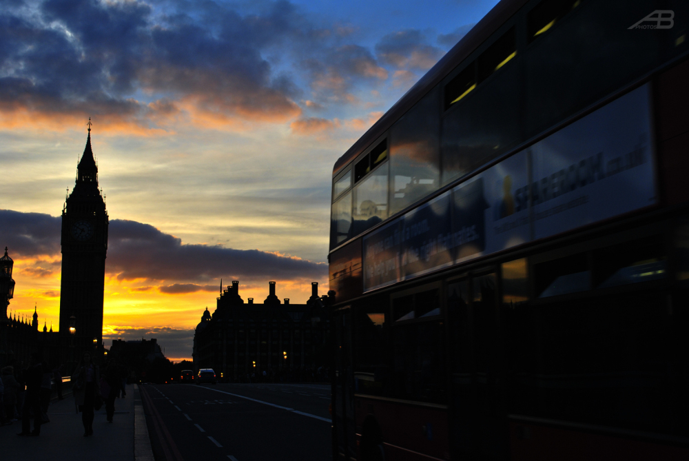 Westminster Bridge at sunset, London