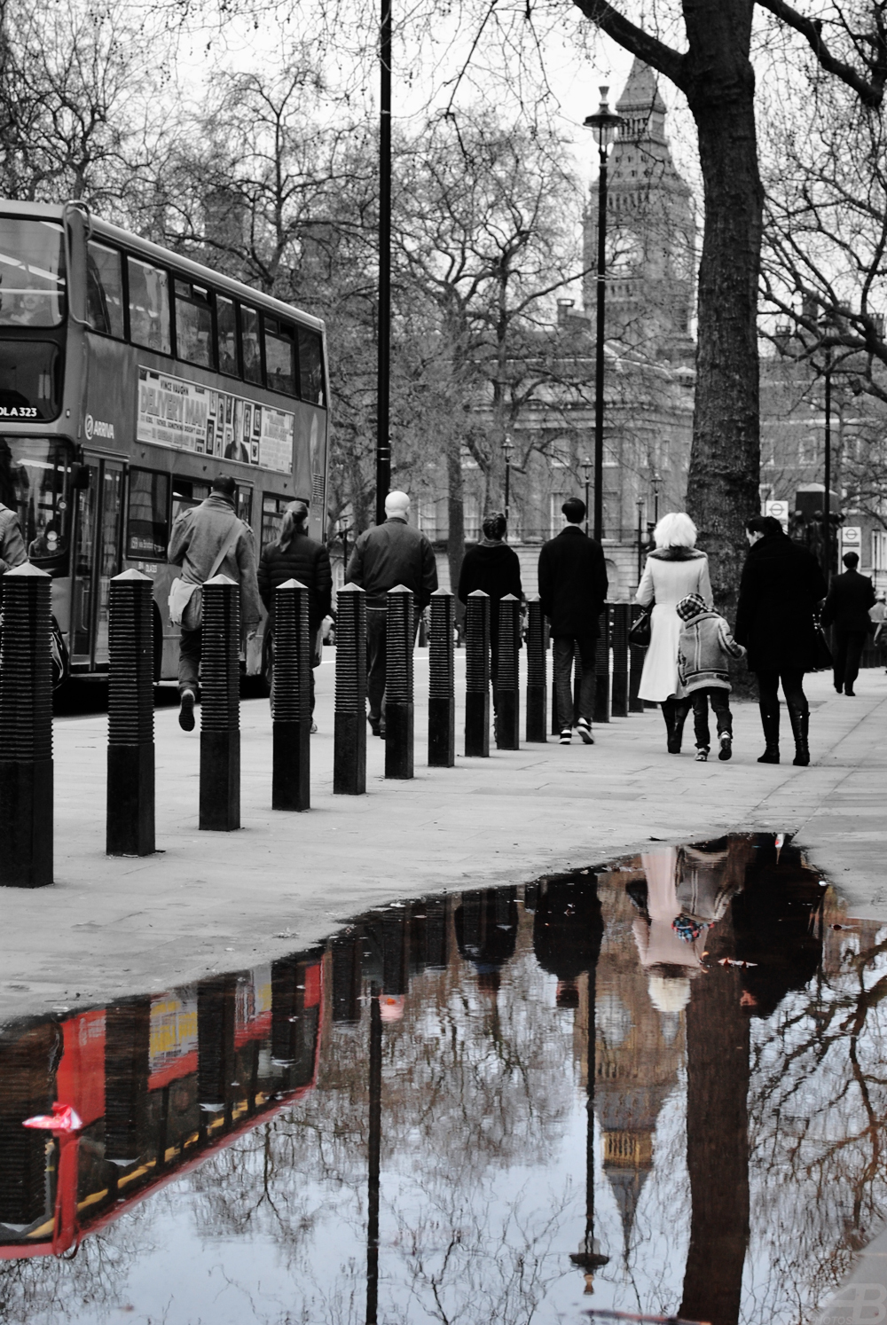 Reflection in a puddle, London