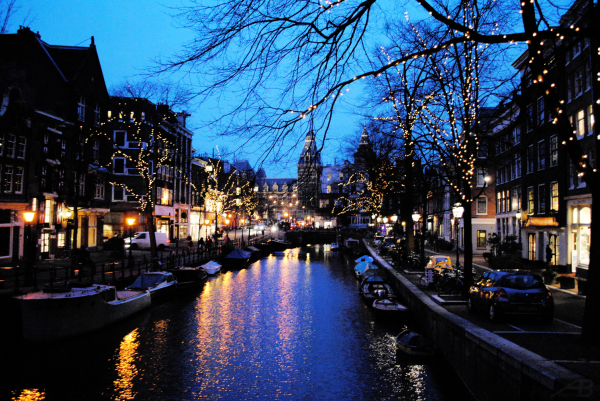 Canal at night, Amsterdam