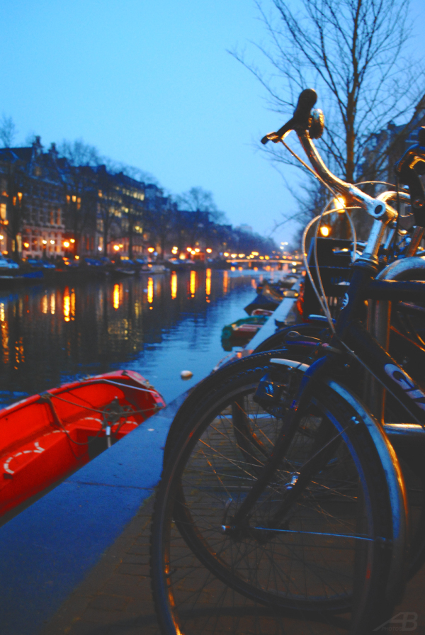 Canal at night and bikes, Amsterdam