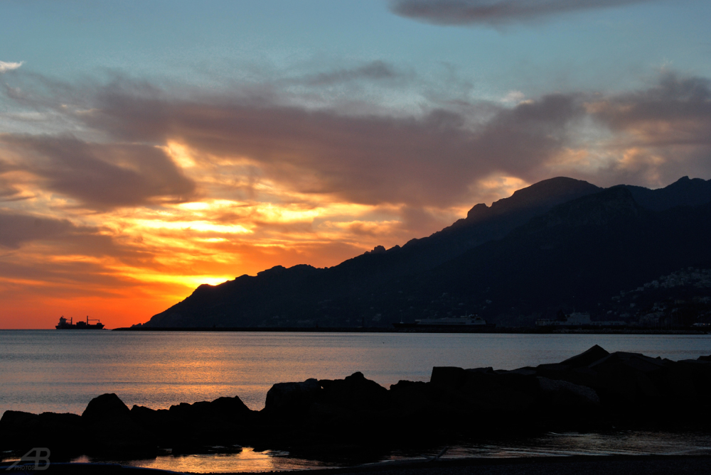 Sunset at sea, Salerno, Italy