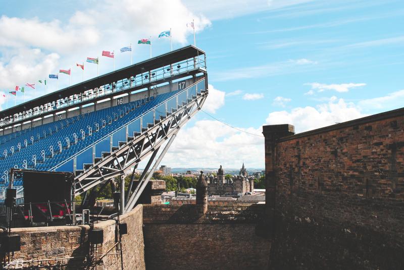 Edinburgh castle and stadium for music festival
