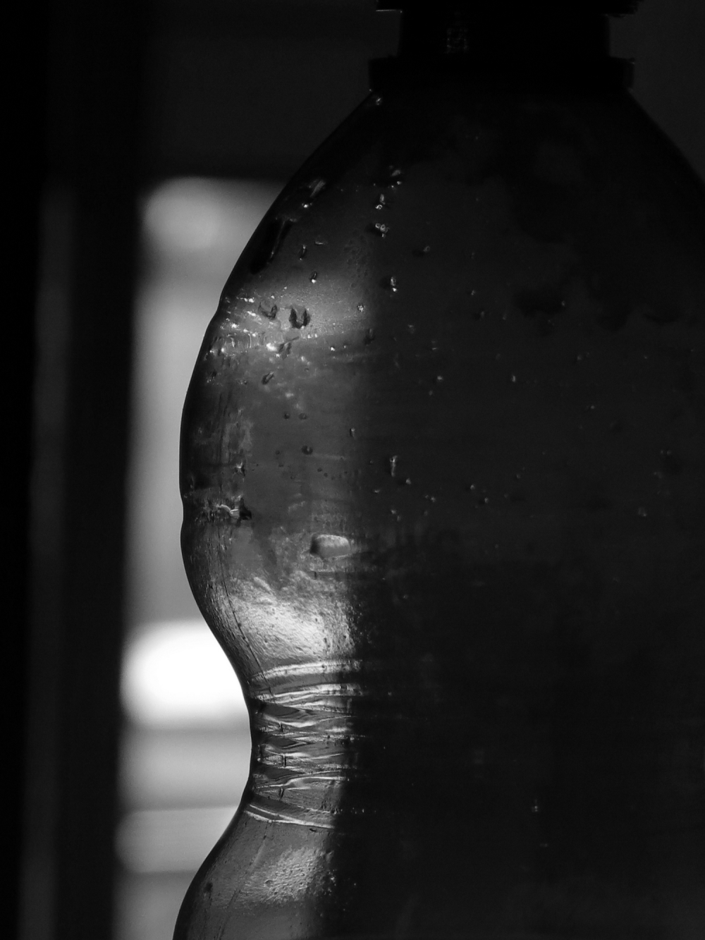this is a plastic bottle, b&w