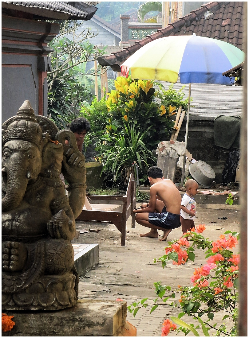 People in Bali & me.
