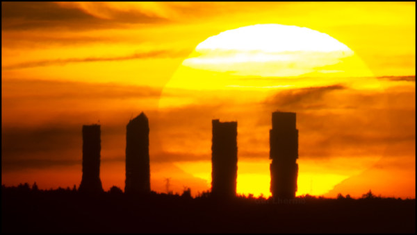 When the sun arises behind the towers, Madrid