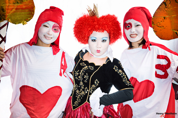 Young women dressed in Halloween costumes