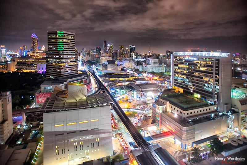Bangkok Thailand aerial view cityscape night