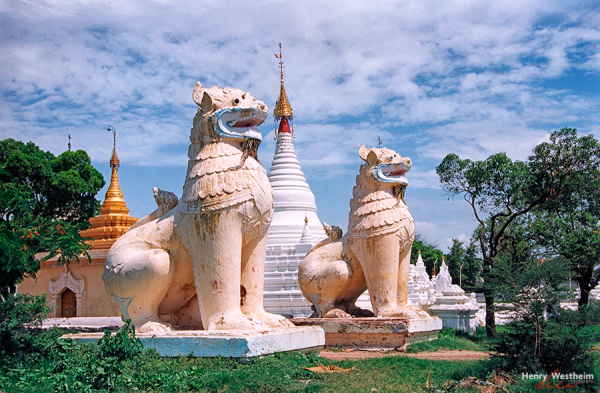 Myanmar Burma Mandalay Hill guardian lions