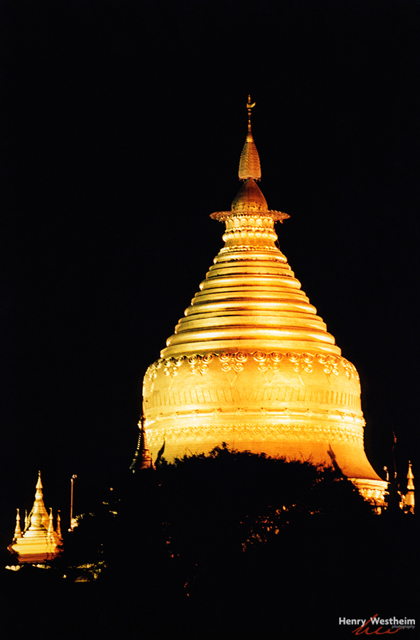 Myanmar Burma Shwezigon Paya Bagan temple night