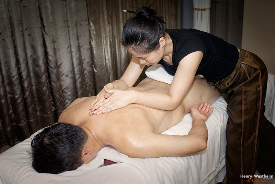 Man laying down a getting a massage