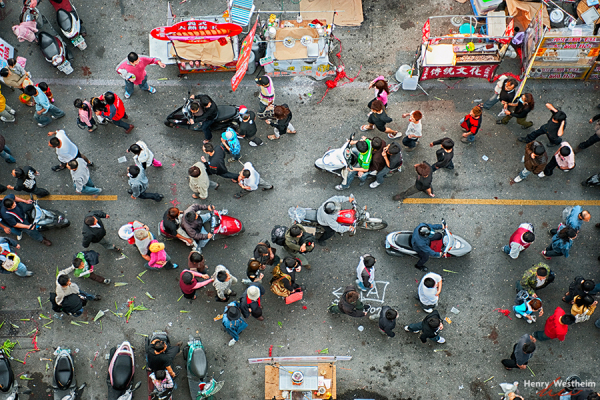 Aerial view of people walking in street, Taiwan